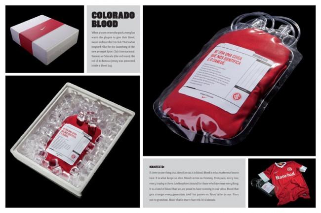 Fans erwarten von ihren Spielern, das sie alles geben: Blut, Schweiß und Tränen. Das inspirierte die Agentur F/Nazca Saatchi & Saatchi aus São Paulo für den Kunden Nike das neue Trikot des Sport Club Internacional in den Behälter einer Blutkonserve zu stecken.