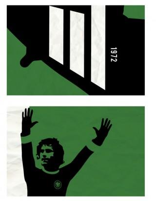 Für die EM 2012 visualisierte Richard Debenham die lange Beziehung zwischen Adidas und den verschiedenen Europameisterschaften