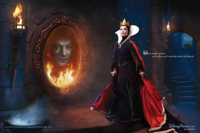 Alec Baldwin als Zauberspiegel und Olivia Wilde als böse Königin