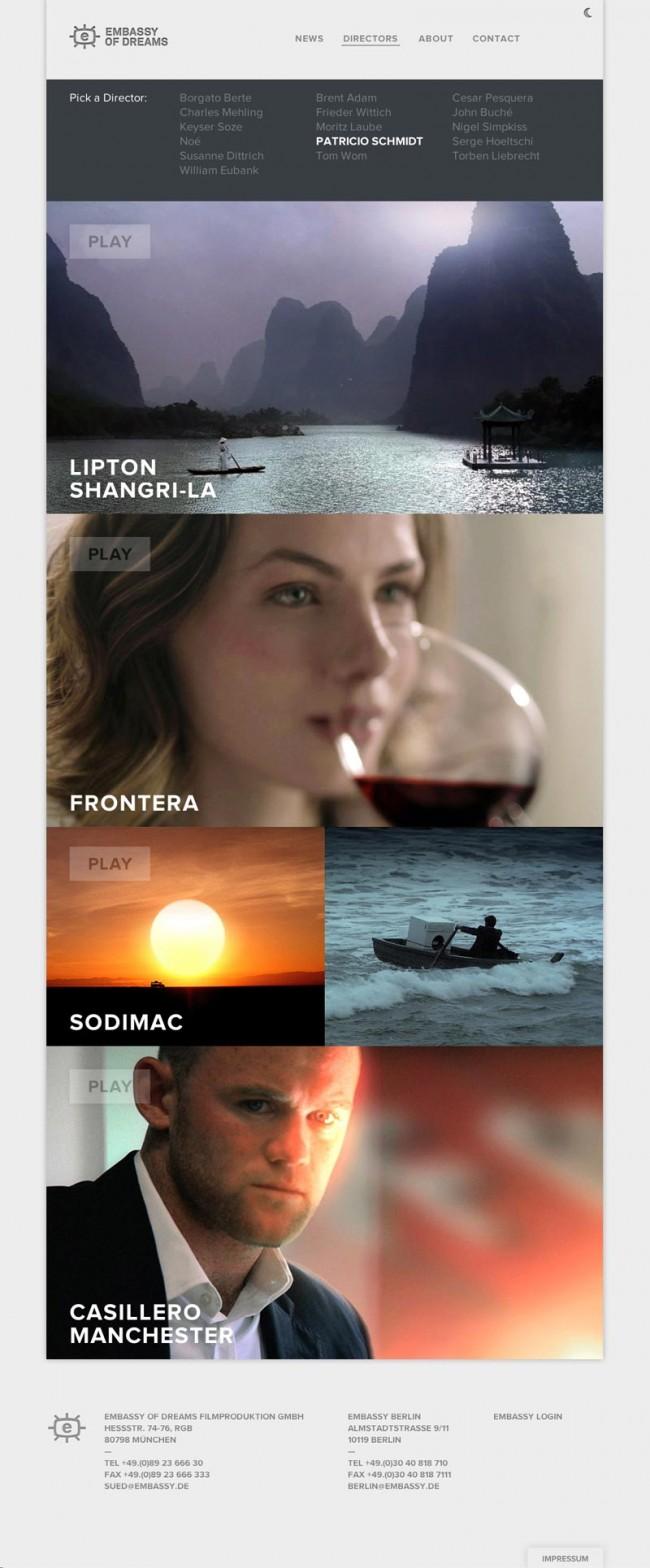 Screenshot der Webseite von Embassy of Dreams bei Tag