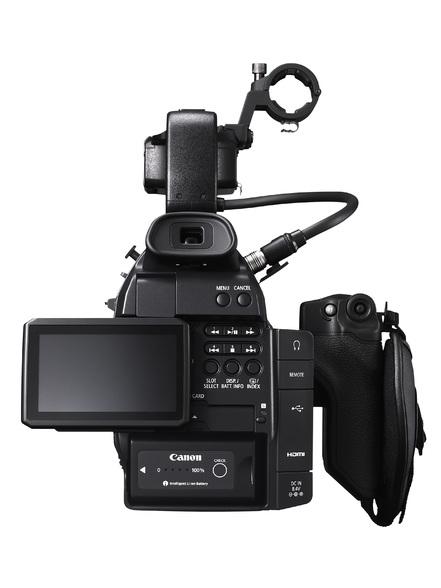 Die Canon EOS C100 in der Rückansicht