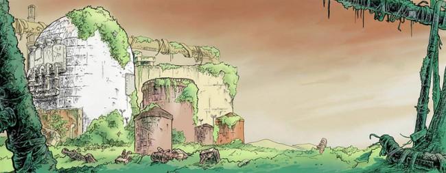 Felix Gephart: Nach dem Ausstieg, 27,5 x 74 cm, 10.8 x 29.1 inch, ink and digital color, cover illustration for Der Freitag