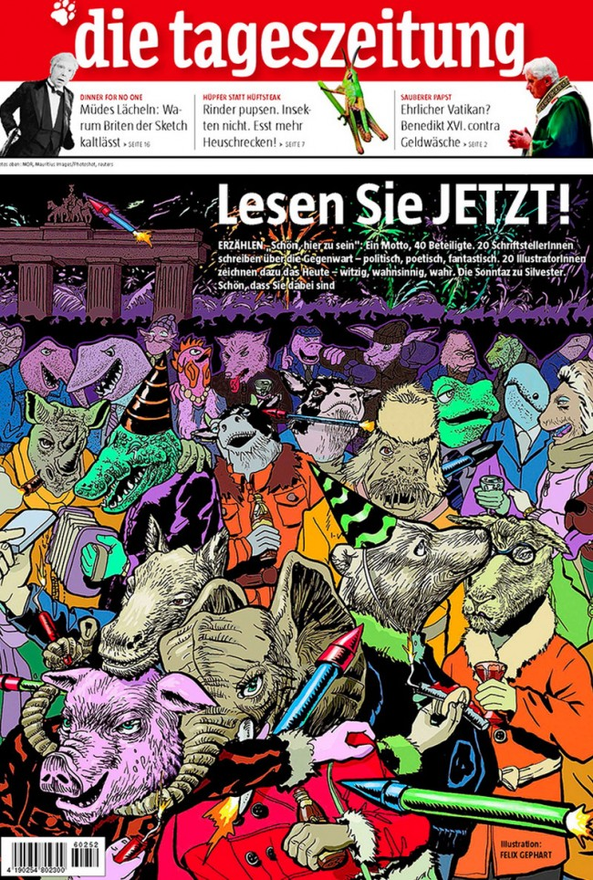 Felix Gephart: Happy New Year, 34 x 28 cm, 13.4 x 11 inch, cover illustration for die taz, ink and digital color