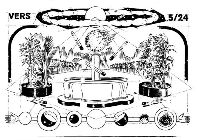 Doppelseite aus seiner Zeitung »Centuria« zum kommenden Weltuntergang