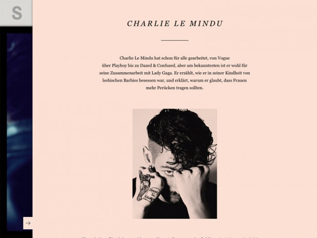 Rankin-Ausgabe des S-Magazine, Styling: Charlie Le Mindu