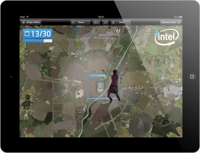 Bei BungartBessler im Auftrag von GFMO OMD und der OMG 4CE entwickelte interaktive und innovative iPad Anzeige für Intel