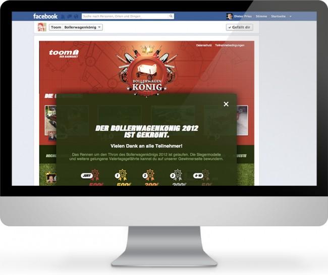Im Auftrag der Agentur Parasol Island entwickelte Facebook-App für toom. Es handelte sich um ein Gewinnspiel, das aus allen eingesendeten Bollerwagen-Bildern zum Vatertag 2012 die Bestbewerteten mit einem Preisgeld belohnte.