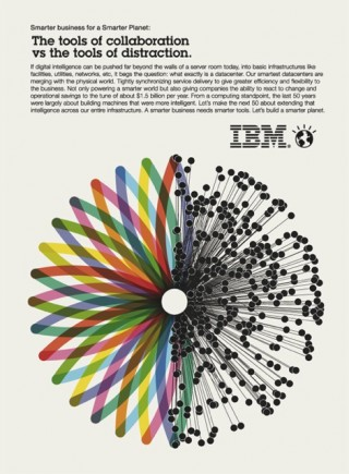 IBM, Smarter Planet - Collaboration vs Distraction Issue, 2010 — Advert Illustration