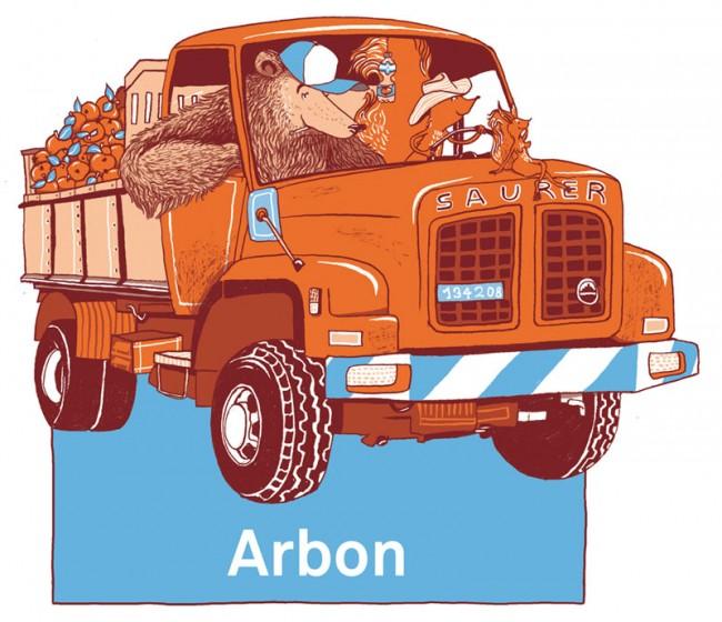 Arbon, Illustration für den Swiss Seilpark Fiesch, ein Projekt mit Andreas Schwab und Annatina Blaser, Qfaktur Bern, 2012