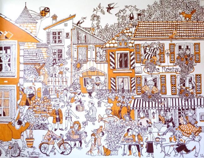 Wandbild Twann, privater Auftraggeber, das Bild entstand im Januar 2012 in einem Wohnhaus in dem Dörfchen Twann am Bielersee