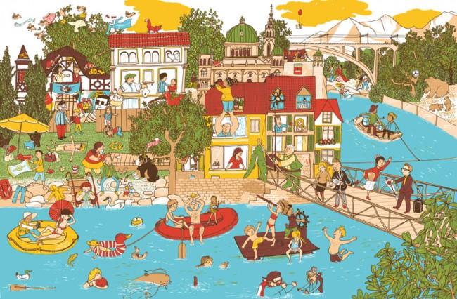 Ausschnitt (Bern) aus dem Schweiz Wimmelbuch - eine Reise über Berg und Tal, Wimmelbuchverlag Berlin, 2011