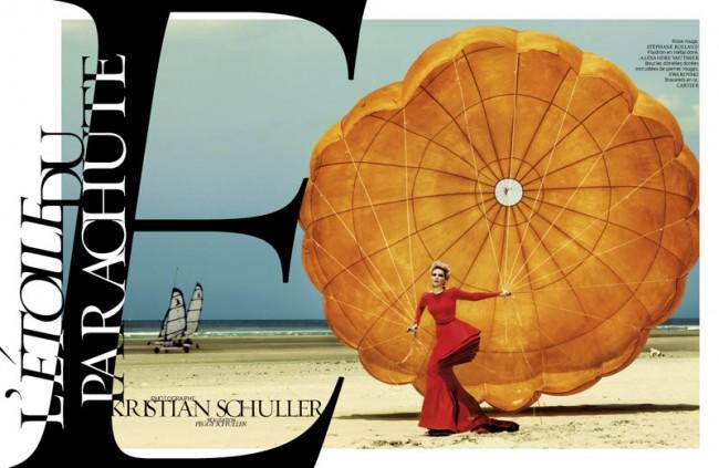 Nadja Auermann, fotografiert von Kristian Schuller für French Magazine. Hair: Felix Fischer c/o Ballsaal Artist Management