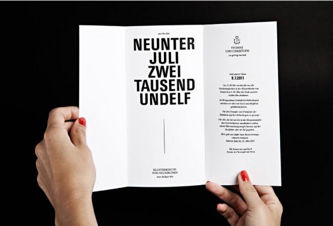 Einladungskarte Hochzeit / Typokonzept