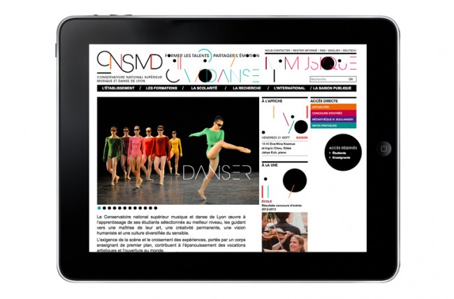 Music and dance conservatory of Lyon – web design