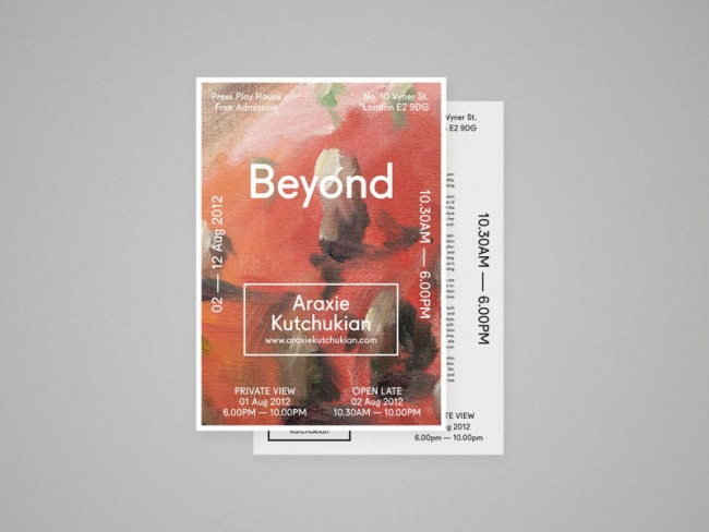 Press Material for upcoming event for London based Artist, Araxie Kutchukian. Araxie approached us to design all of the printed and digital collateral for the event in August 2012.