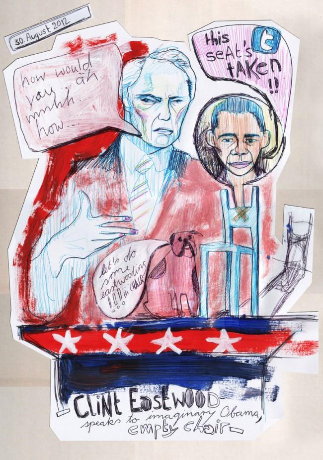 Draw me the news: Clint Eastwood spricht mit imaginären Obama (einem leeren Stuhl)