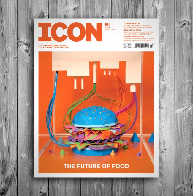THE FUTURE OF FOOD (2012): Cover illustration for Icon magazine 104, about the Future of Food. Inspired by 3D food printer technology.