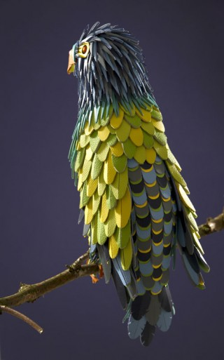 LEATHER PARROT – Hermès (2012): Leather Parrot for Hermès, for Hilton Mc Connico's exhibition in Hong Kong. Made with leather offcuts from Hermès workshops.