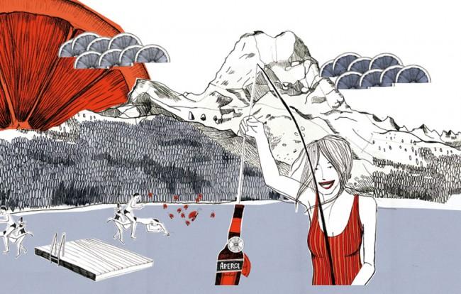 »Lifestyle«-Illustration für ein Snowboard, für BrandlCermak Design und Kommunikation, Wien