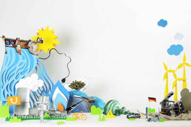 »Energiewende«, Kulisse aus Papier für das Kundenmagazin eines großen Energiekonzerns. Für Muehlhausmoers Corporate Communications, Köln.  Foto: Jana Dorn