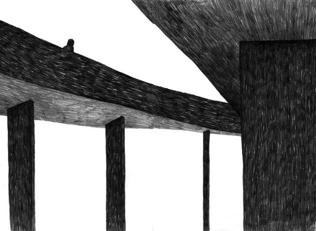 »Bridge to nowhere« Illustration aus dem Buchprojekt »Zozette« Bleistift auf Papier