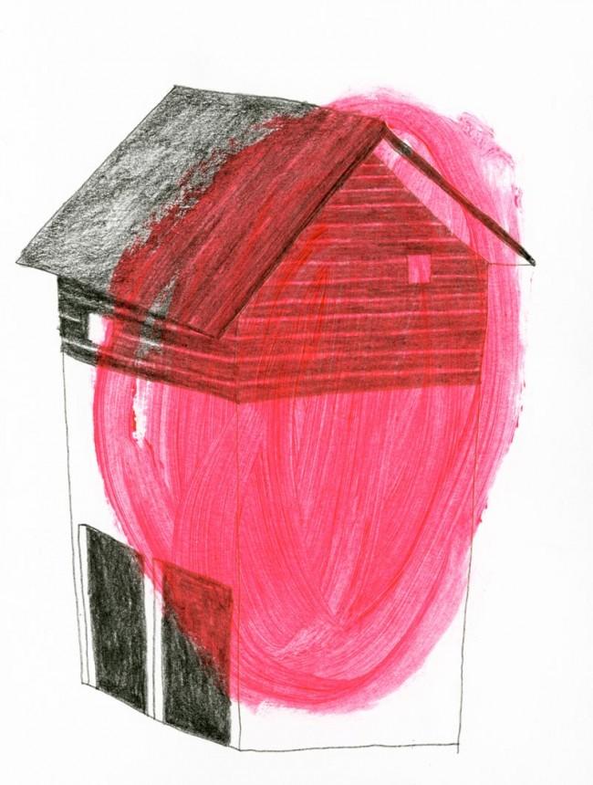 »Maison rouge« Bleistift, Acyril auf Papier