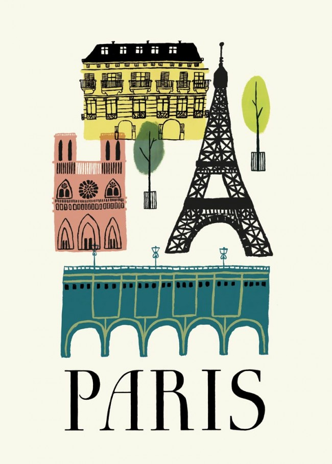 »Paris« Poster Acryl auf Papier