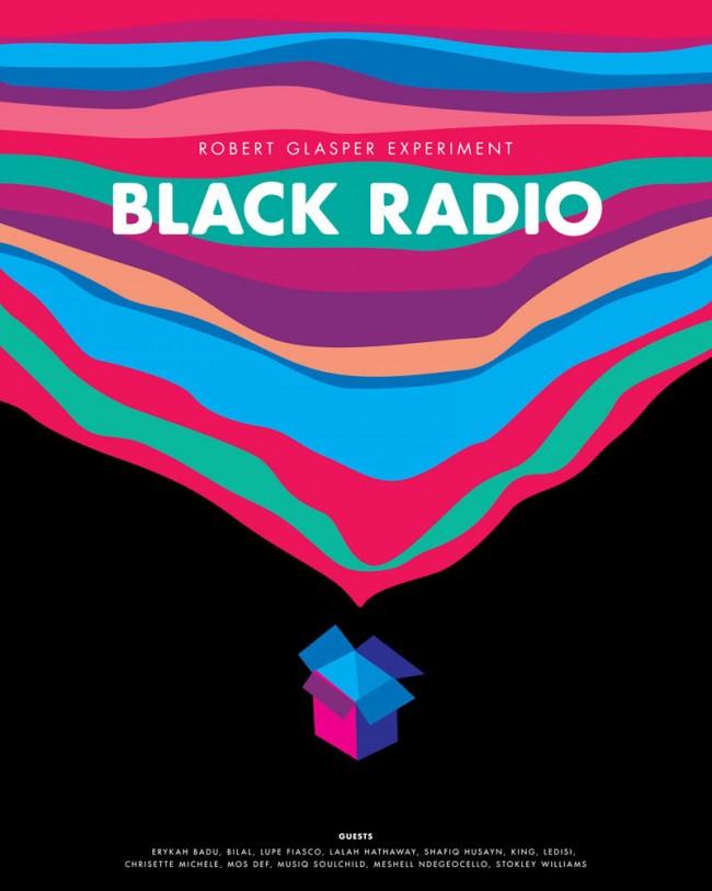 Poster für das neue Album »Black Radio« des amerikanischen Jazz-Pianisten Robert Glaser