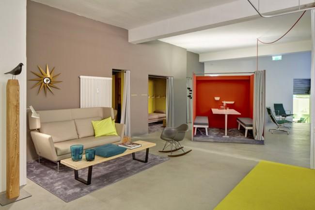 Rote Work Box und kleine Lounge, Quiet Room und Powernap, Foto: Eduardo Perez