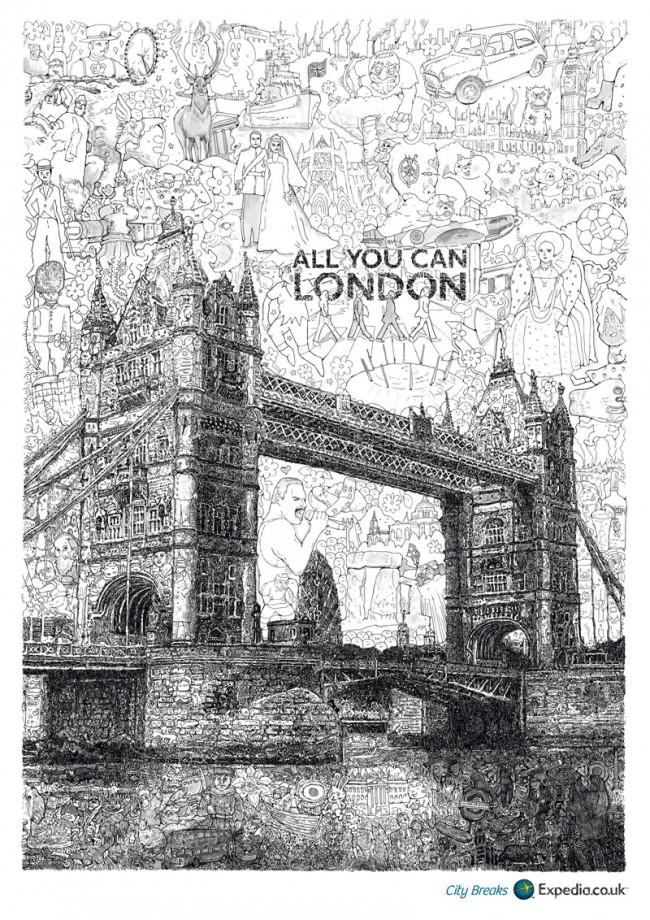 Mit wunderbaren, schwarzweißen Wimmelbildern macht Ogilvy & Mather London Werbung für Expedia City Breaks