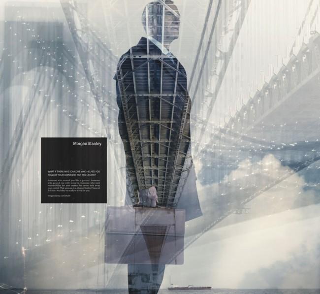 Wenn schon Werbung für Finanzdienstleister dann bitte mit so schönen Fotos wie diesen, die der britische Fotograf Nadav Kander im Auftrag von The Martin Agency aus Richmond für die »What if« Kampagne von Morgan Stanley schoss.