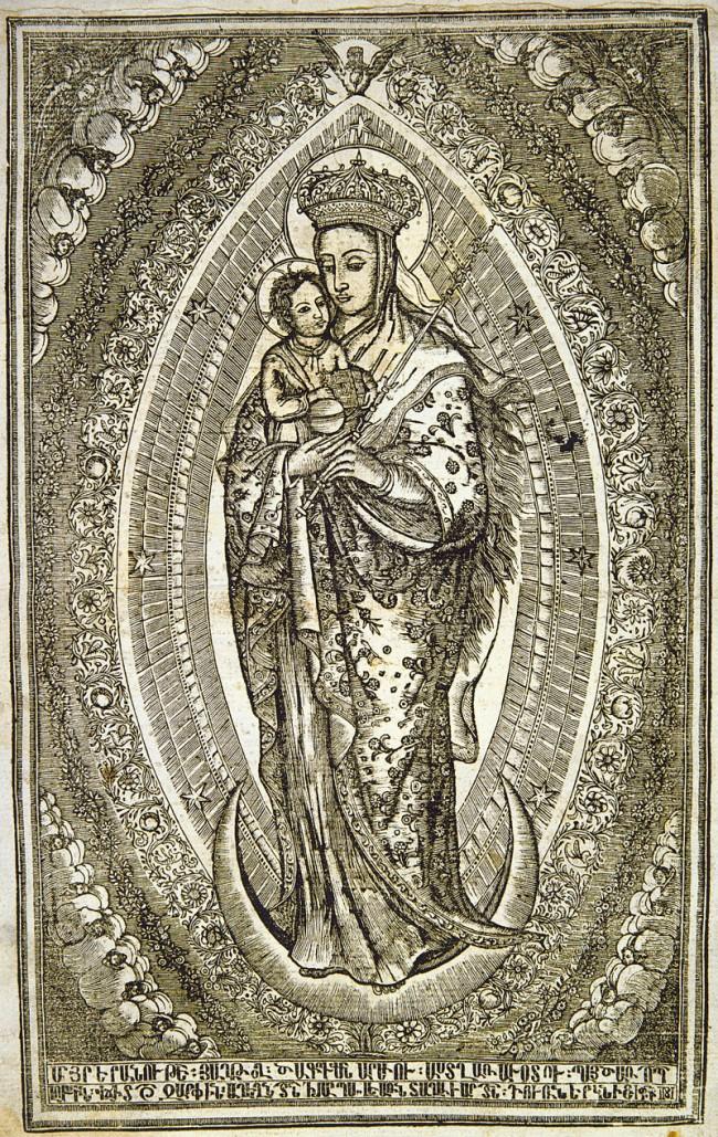 Folio-Synaxarion des Grigor Marzvanec'i, Konstantinopel 1730. Die Madonna steht für den typisch armenischen Stil der Buchillustration, der im 18. Jahrhundert in den armenischen Werkstätten der osmanischen Hauptstadt entstand.