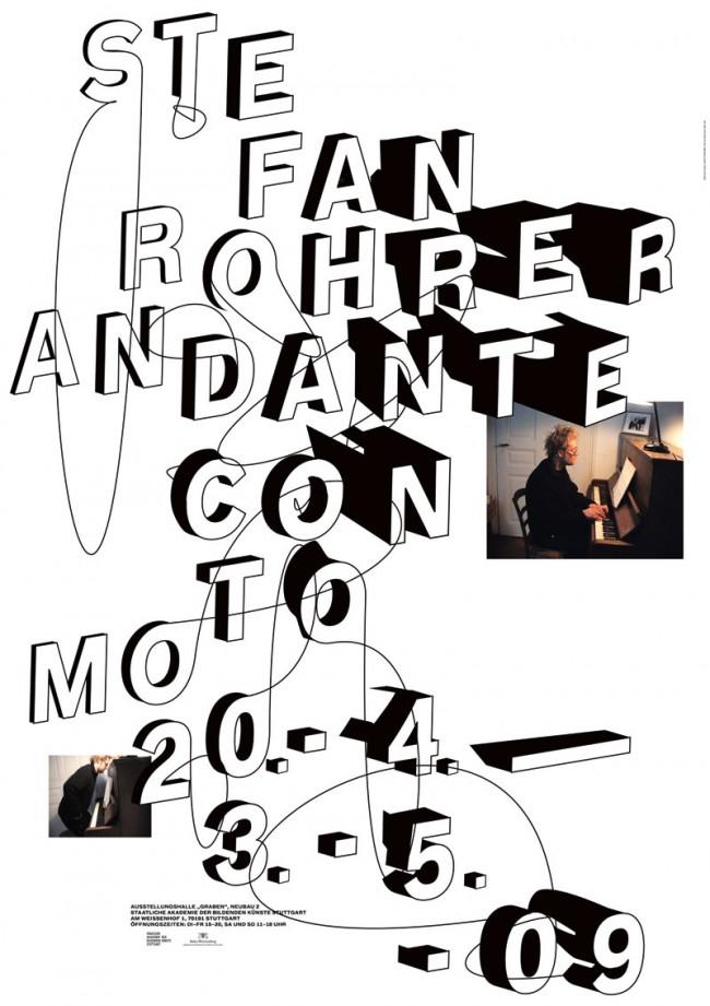 Plakatgestaltung für die Ausstellung Andante Con Moto von Stefan Rohrer, März 2009