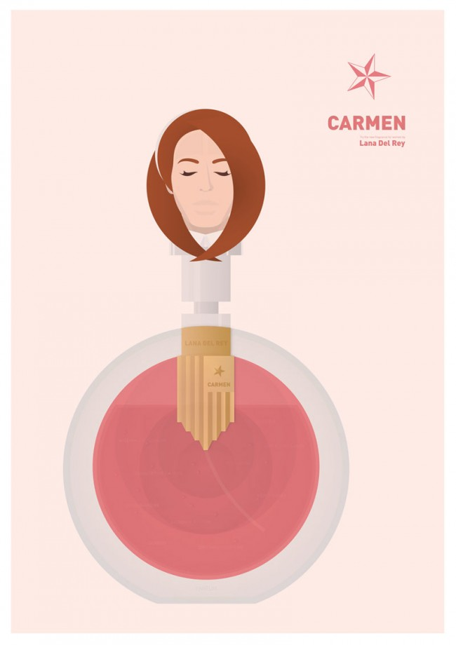 Illustration |Lyrics in Bottles (Serie) | Lana Del Rey (Musikerin) | Freie Arbeit (Student)