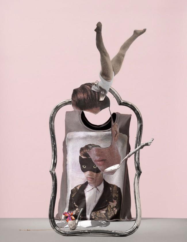 Löffel gesehen bei Kuball und Kempe, Tanktop mit Porträt und Katzenmaske von Paul & Joe Sister, Strass-Vielschliffkette in Vintage-Totenkopfpfeiffe von Tom Shot