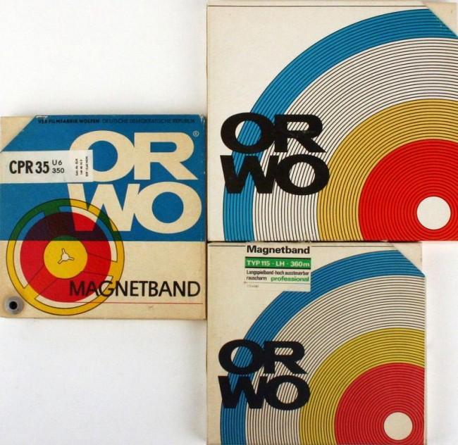 Magneton-Bandhüllen aus dem Sortiment ORWO, Hersteller VEB Filmfabrik Wolfen, ab 1963/64, Design Ernst Schneider
