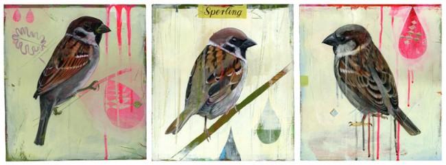 Triptychon Sperlinge