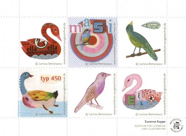 Vögel, Briefmarken, Agentur Susanne Koppe