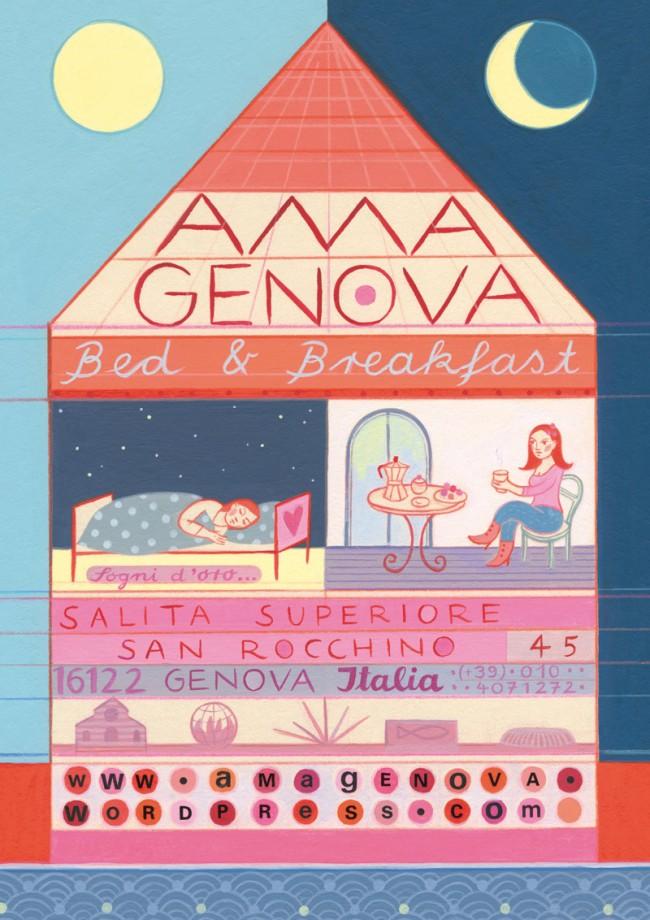 Ama Genova, Werbekarte Bed & Breakfast Genua