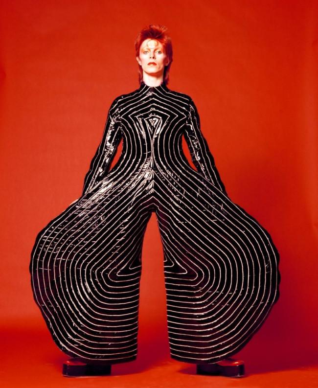 Striped bodysuit for Aladdin Sane tour, Design by Kansai Yamamoto, Photograph by Masayoshi Sukita, 1973