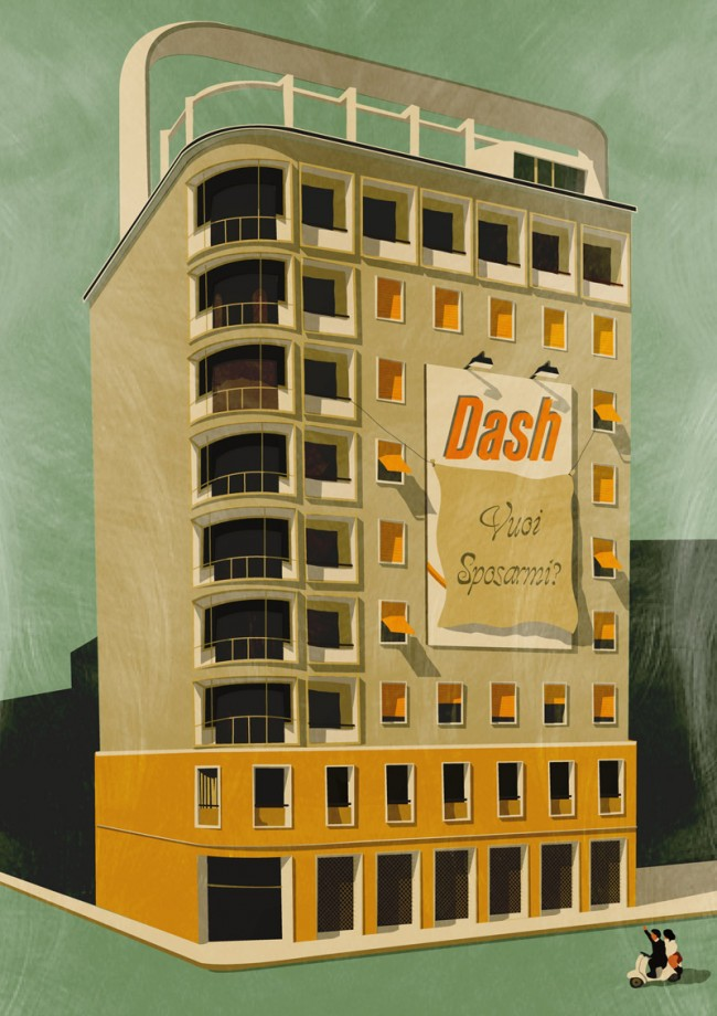 In den Arbeiten von Giordani Polini aus Italien kommen oft Gebäude im Retro-Look vor