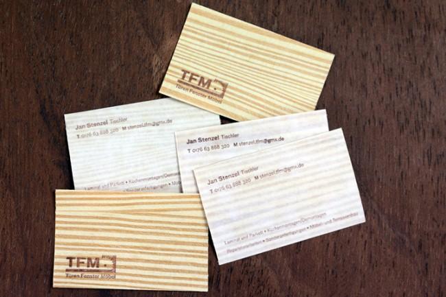 Visitenkarten aus Holz für einen Tischler
