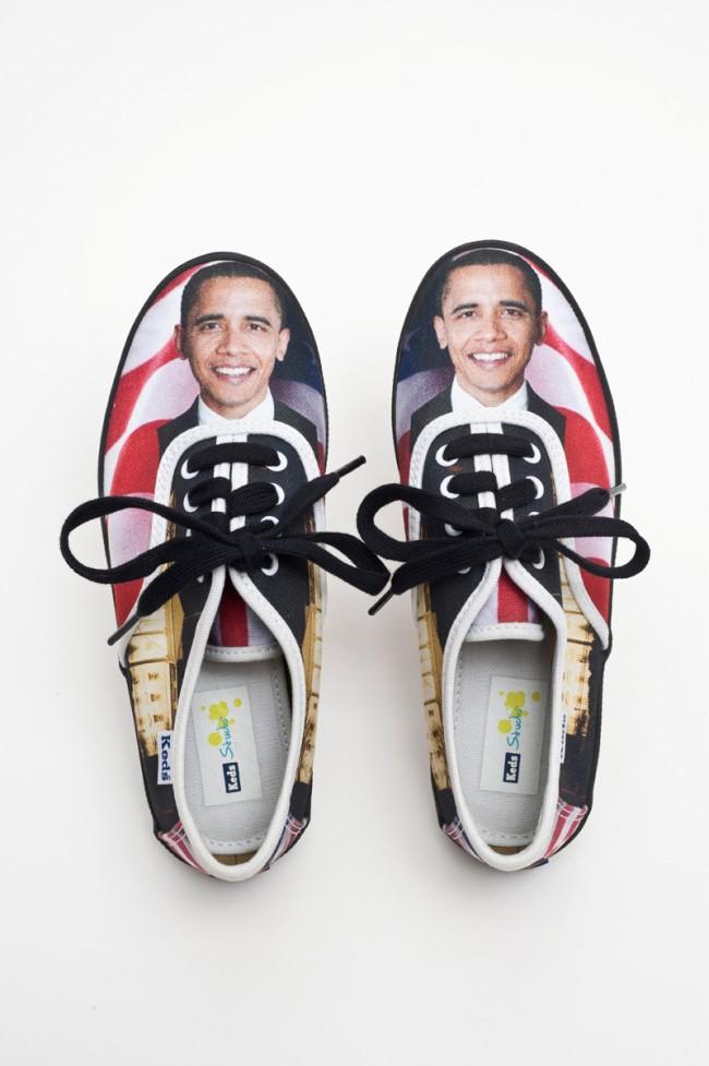 Obama-Kindersneakers, Entwurf 2008, Keds, USA, 2009 Kategorie: Hurrakitsch