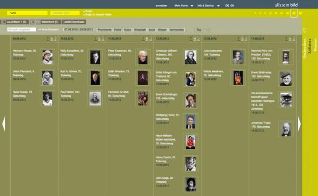 Erscheinungsbild für ullsteinbild: hier > ullsteinbild.de / Zeitleiste