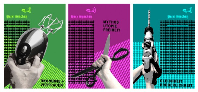 Erscheinungsbild für das Theater werkmünchen: hier > Plakatserie