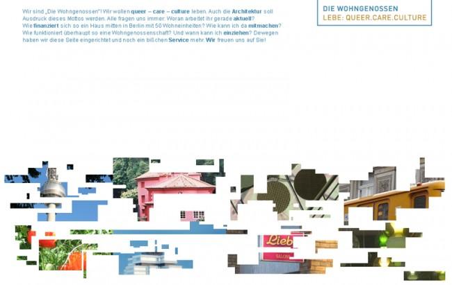 Erscheinungsbild für die Wohn-Initiative: hier > die-wohngenossen.de