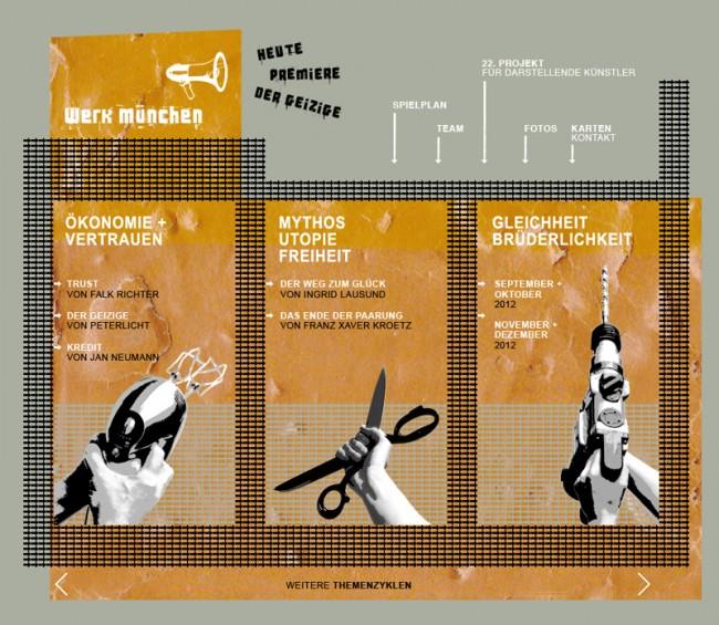 Erscheinungsbild für das Theater werkmünchen: hier > theater-werkmuenchen.de