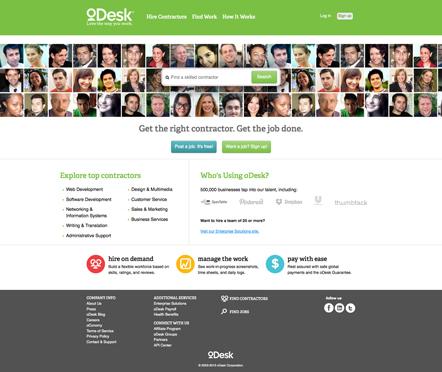 Bild oDesk Startseite