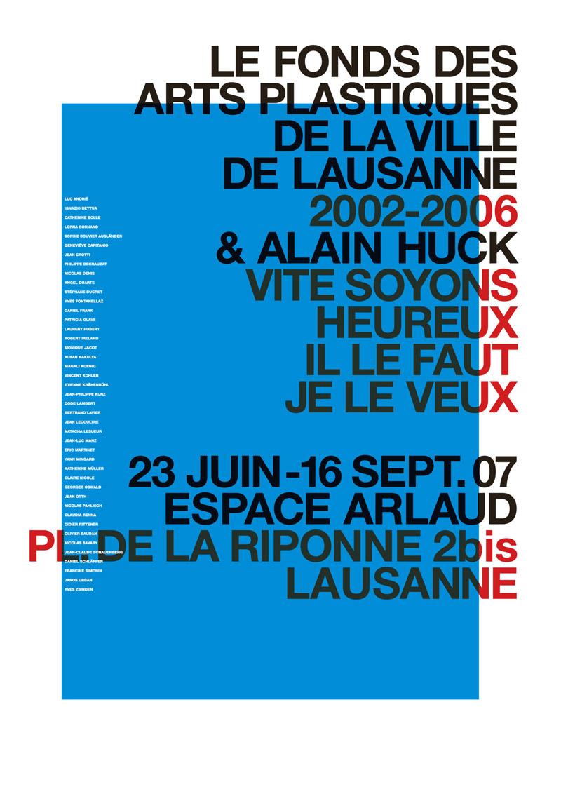 Le Fonds des Arts Plastiques de la Ville de Lausanne, Plakat F4, 2007, Gestaltung: Flavia Cocchi