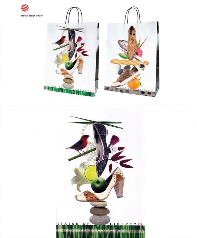 Collage | Bag Schuhaus Werdich. Frauen und Männerseite. In Zusammenarbeit mit Hebe Design. Auszeichnung: Red Dot Award
